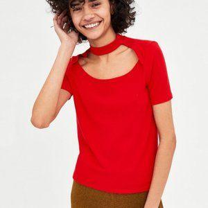 Zara Red Ribbed Choker T-shirt